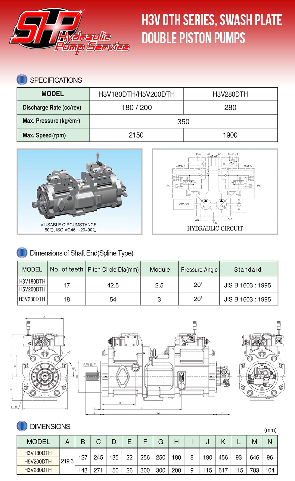 H3V DTH Series, Swash Plate Double Piston Pumps