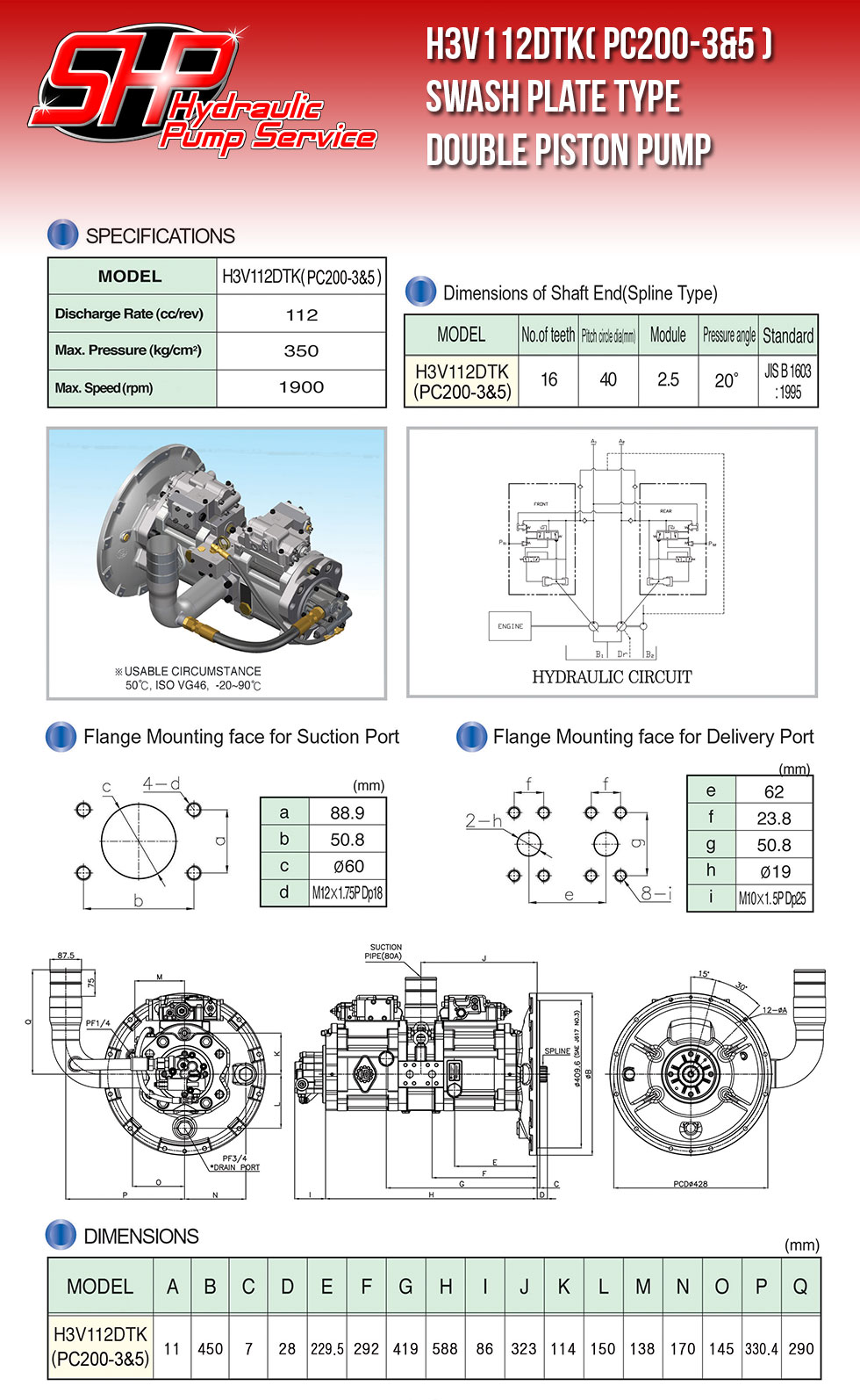 H3V112DTK( PC200-3&5 ) SWASH PLATE TYPE DOUBLE PISTON PUMP