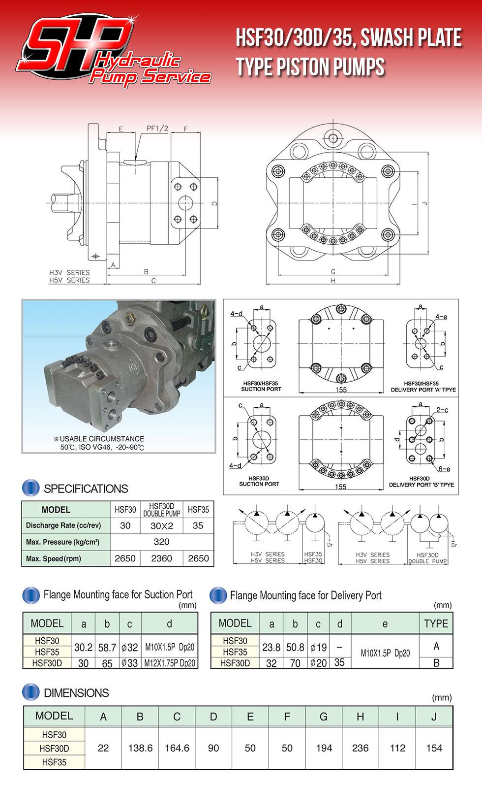 HSF30/30D/35, SWASH PLATE TYPE PISTON PUMPS