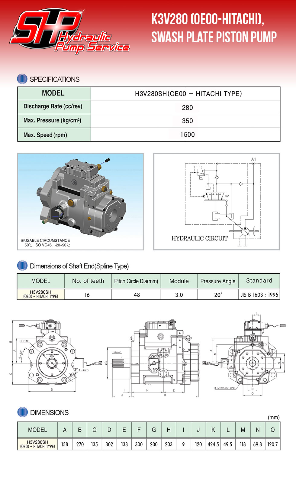 K3V280 (OE00-Hitachi), Swash Plate Type Piston Pump